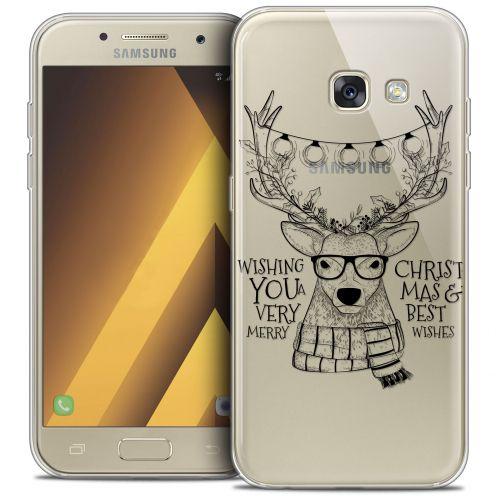 "Coque Crystal Gel Samsung Galaxy A7 2017 A700 (5.7"") Extra Fine Noël 2017 - Cerf Hipster"