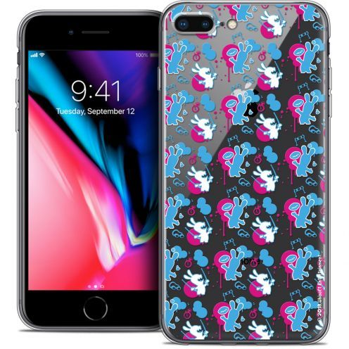"""Coque Gel Apple iPhone 8 Plus (5.5"""") Extra Fine Lapins Crétins™ - Rugby Pattern"""