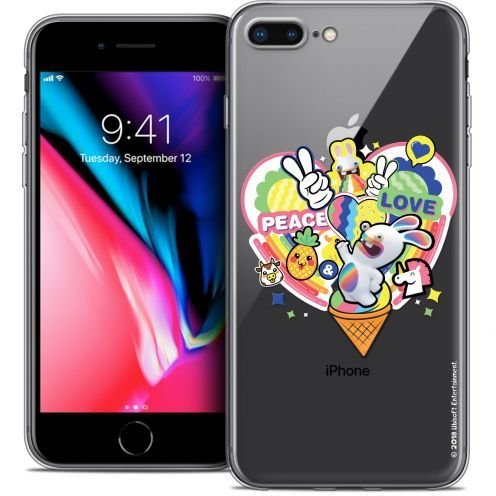 """Coque Gel Apple iPhone 7 Plus (5.5"""") Extra Fine Lapins Crétins™ - Peace And Love"""