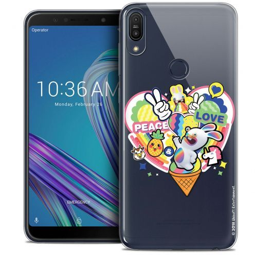 "Coque Gel Asus Zenfone Max Pro (M1) ZB601KL (6"") Extra Fine Lapins Crétins™ - Peace And Love"