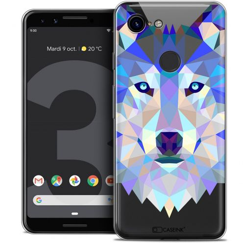 "Coque Crystal Gel Google Pixel 3 (5.5"") Extra Fine Polygon Animals - Loup"