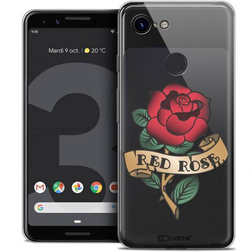 """Coque Crystal Gel Google Pixel 3 (5.5"""") Extra Fine Tatoo Lover - Red Rose"""