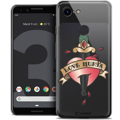 "Coque Crystal Gel Google Pixel 3 (5.5"") Extra Fine Tatoo Lover - Love Hurts"