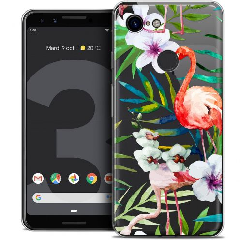 "Coque Crystal Gel Google Pixel 3 (5.5"") Extra Fine Watercolor - Tropical Flamingo"