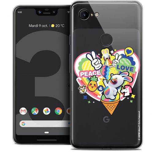 """Coque Gel Google Pixel 3 XL (6.3"""") Extra Fine Lapins Crétins™ - Peace And Love"""