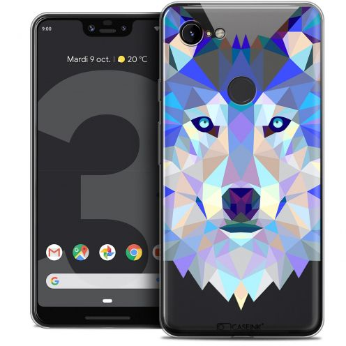 "Coque Crystal Gel Google Pixel 3 XL (6.3"") Extra Fine Polygon Animals - Loup"