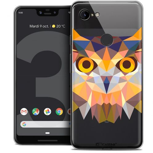 "Coque Crystal Gel Google Pixel 3 XL (6.3"") Extra Fine Polygon Animals - Hibou"