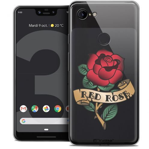 "Coque Crystal Gel Google Pixel 3 XL (6.3"") Extra Fine Tatoo Lover - Red Rose"