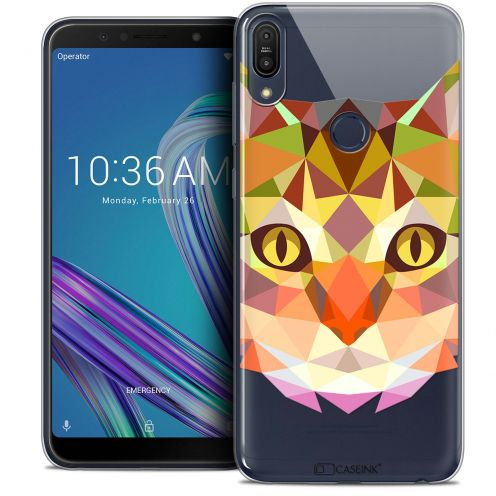 """Coque Crystal Gel Asus Zenfone Max Pro (M1) ZB601KL (6"""") Extra Fine Polygon Animals - Chat"""