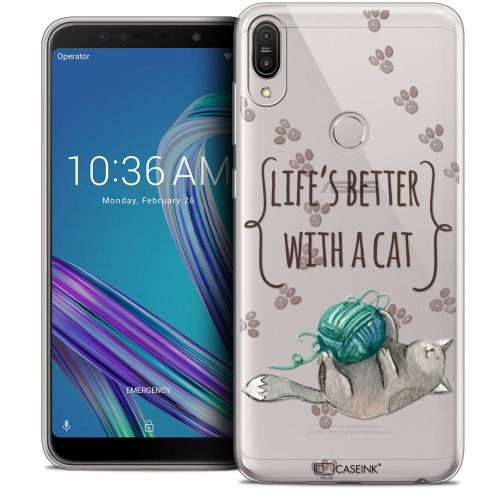 """Coque Crystal Gel Asus Zenfone Max Pro (M1) ZB601KL (6"""") Extra Fine Quote - Life's Better With a Cat"""