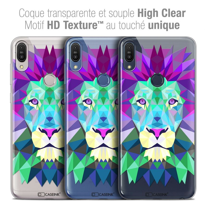 "Coque Crystal Gel Asus Zenfone Max Pro (M1) ZB601KL (6"") Extra Fine Polygon Animals - Lion"