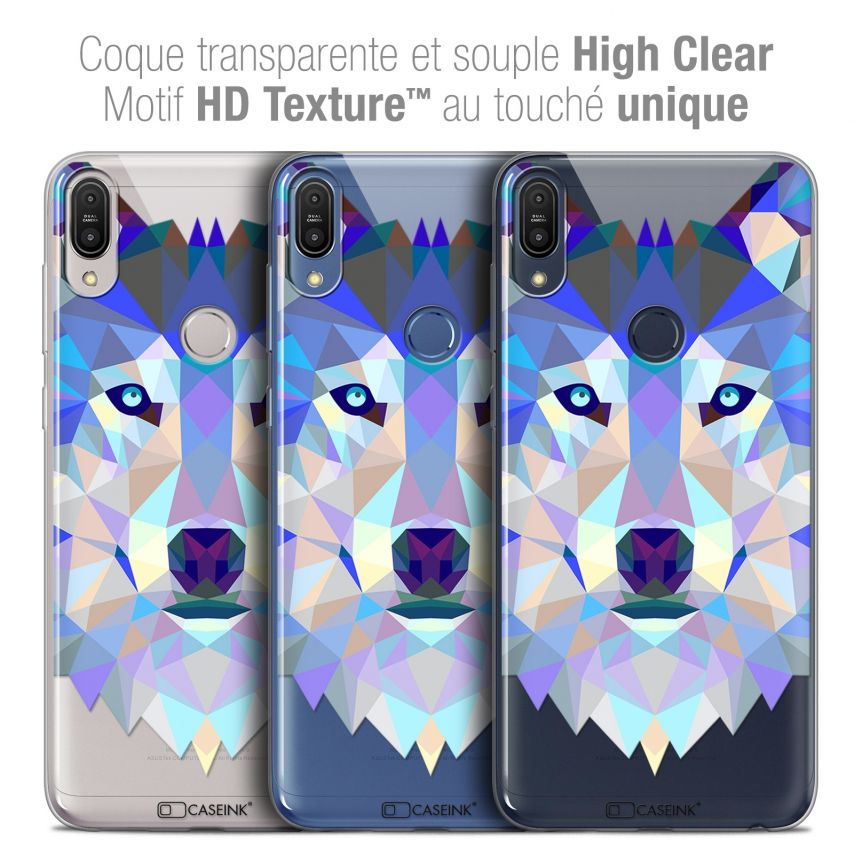 "Coque Crystal Gel Asus Zenfone Max Pro (M1) ZB601KL (6"") Extra Fine Polygon Animals - Loup"