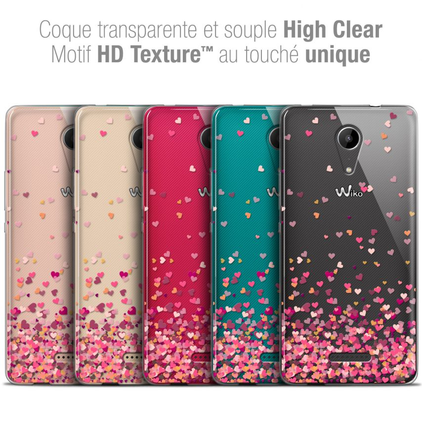 "Coque Crystal Gel Wiko Tommy 2 (5"") Extra Fine Sweetie - Heart Flakes"