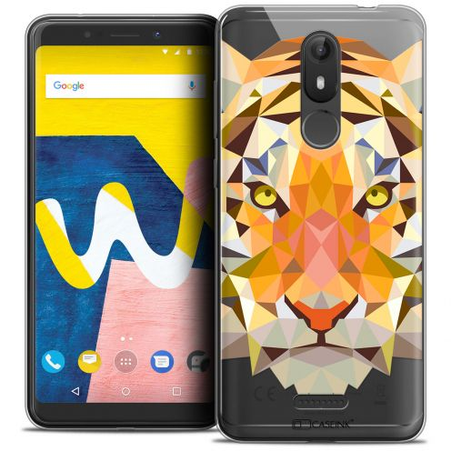 "Coque Crystal Gel Wiko View LITE (5.45"") Extra Fine Polygon Animals - Tigre"