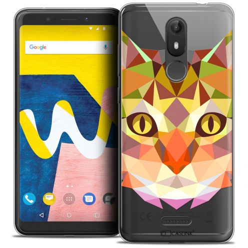 "Coque Crystal Gel Wiko View LITE (5.45"") Extra Fine Polygon Animals - Chat"