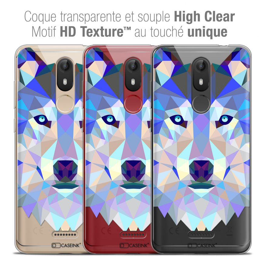 """Coque Crystal Gel Wiko View LITE (5.45"""") Extra Fine Polygon Animals - Loup"""