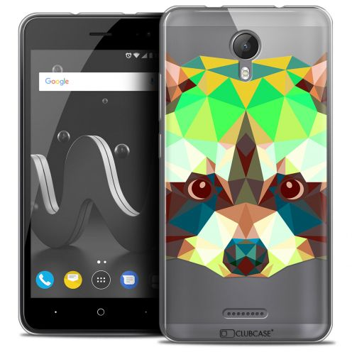 "Coque Crystal Gel Wiko Jerry 2 (5"") Extra Fine Polygon Animals - Raton Laveur"