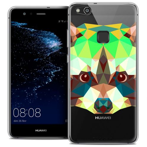"Coque Crystal Gel Huawei P10 LITE (5.2"") Extra Fine Polygon Animals - Raton Laveur"