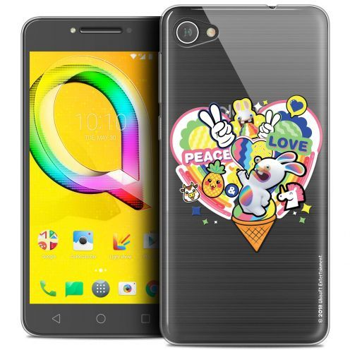 """Coque Gel Alcatel A5 LED (5.2"""") Extra Fine Lapins Crétins™ - Peace And Love"""