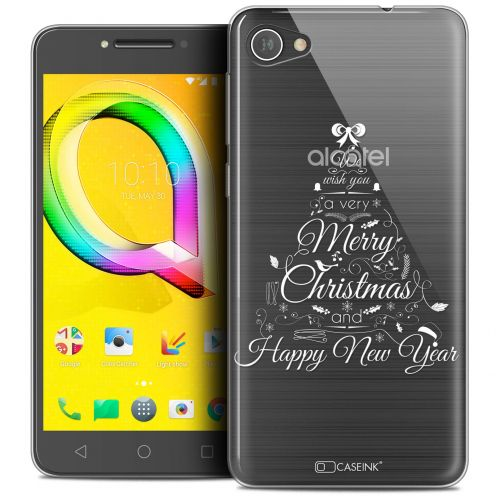 "Coque Crystal Gel Alcatel A5 LED (5.2"") Extra Fine Noël 2017 - Calligraphie"