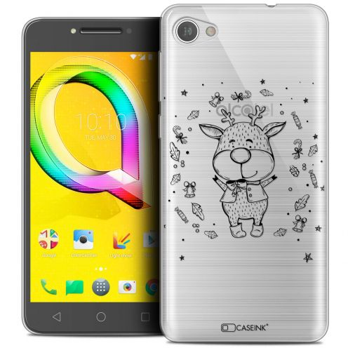 "Coque Crystal Gel Alcatel A5 LED (5.2"") Extra Fine Noël 2017 - Sketchy Cerf"