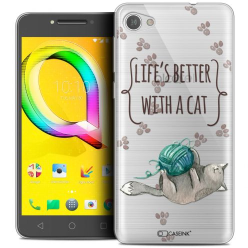 "Coque Crystal Gel Alcatel A5 LED (5.2"") Extra Fine Quote - Life's Better With a Cat"