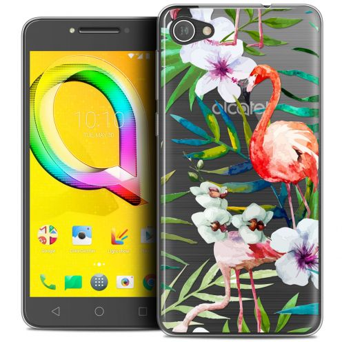"Coque Crystal Gel Alcatel A5 LED (5.2"") Extra Fine Watercolor - Tropical Flamingo"