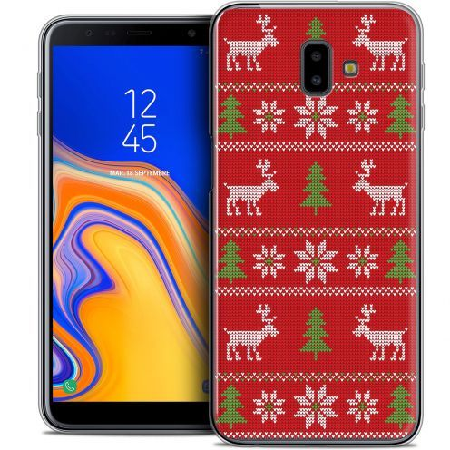 """Coque Crystal Gel Samsung Galaxy J6 Plus J6+ (6.4"""") Extra Fine Noël 2017 - Couture Rouge"""
