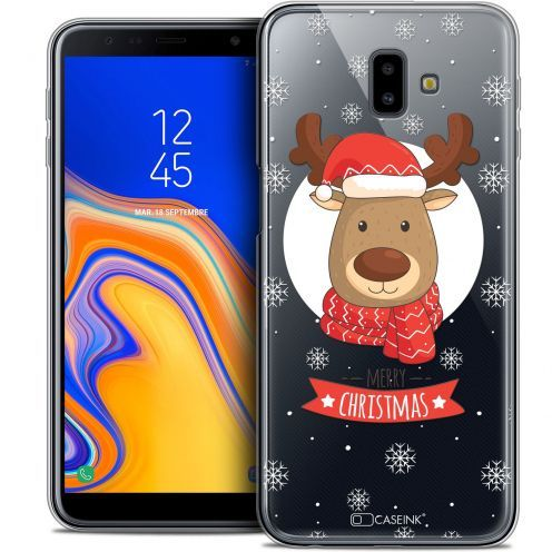 "Coque Crystal Gel Samsung Galaxy J6 Plus J6+ (6.4"") Extra Fine Noël 2017 - Cerf à Echarpe"