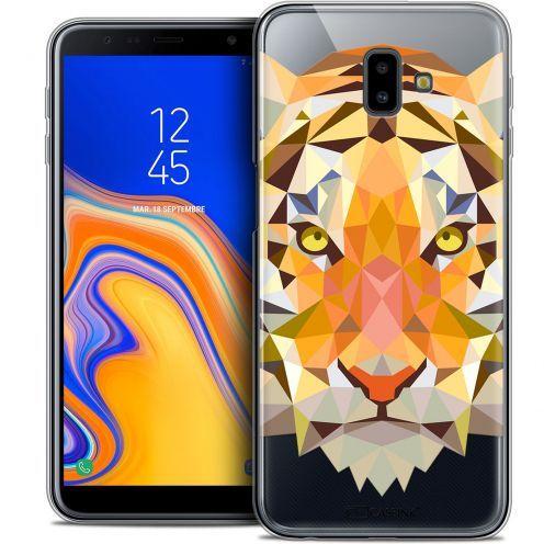 "Coque Crystal Gel Samsung Galaxy J6 Plus J6+ (6.4"") Extra Fine Polygon Animals - Tigre"