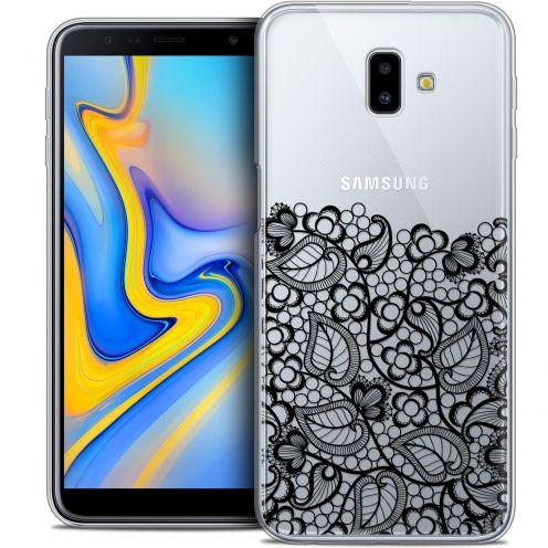 """Coque Crystal Gel Samsung Galaxy J6 Plus J6+ (6.4"""") Extra Fine Spring - Bas dentelle Noir"""