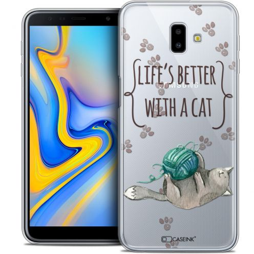 """Coque Crystal Gel Samsung Galaxy J6 Plus J6+ (6.4"""") Extra Fine Quote - Life's Better With a Cat"""