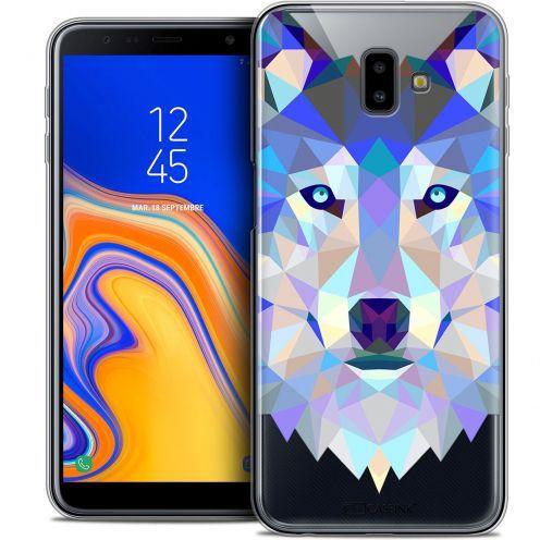 "Coque Crystal Gel Samsung Galaxy J6 Plus J6+ (6.4"") Extra Fine Polygon Animals - Loup"