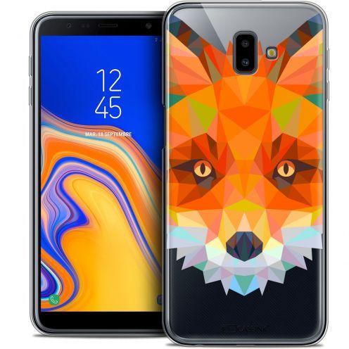 "Coque Crystal Gel Samsung Galaxy J6 Plus J6+ (6.4"") Extra Fine Polygon Animals - Renard"