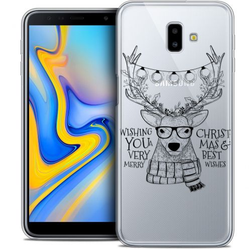 "Coque Crystal Gel Samsung Galaxy J6 Plus J6+ (6.4"") Extra Fine Noël 2017 - Cerf Hipster"