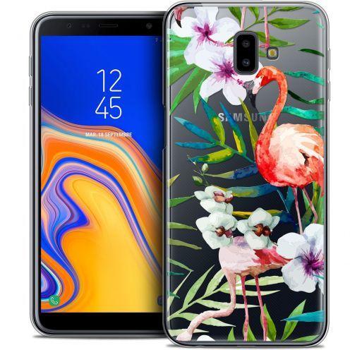 """Coque Crystal Gel Samsung Galaxy J6 Plus J6+ (6.4"""") Extra Fine Watercolor - Tropical Flamingo"""