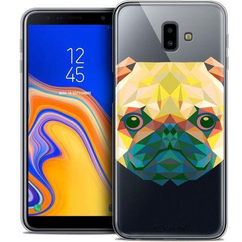 "Coque Crystal Gel Samsung Galaxy J6 Plus J6+ (6.4"") Extra Fine Polygon Animals - Chien"