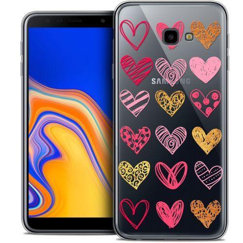 "Coque Crystal Gel Samsung Galaxy J4 Plus J4+ (6"") Extra Fine Sweetie - Doodling Hearts"