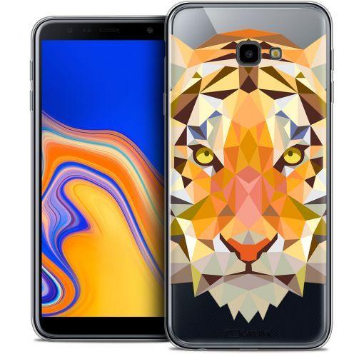 "Coque Crystal Gel Samsung Galaxy J4 Plus J4+ (6"") Extra Fine Polygon Animals - Tigre"