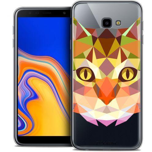 """Coque Crystal Gel Samsung Galaxy J4 Plus J4+ (6"""") Extra Fine Polygon Animals - Chat"""