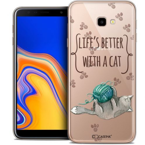 """Coque Crystal Gel Samsung Galaxy J4 Plus J4+ (6"""") Extra Fine Quote - Life's Better With a Cat"""
