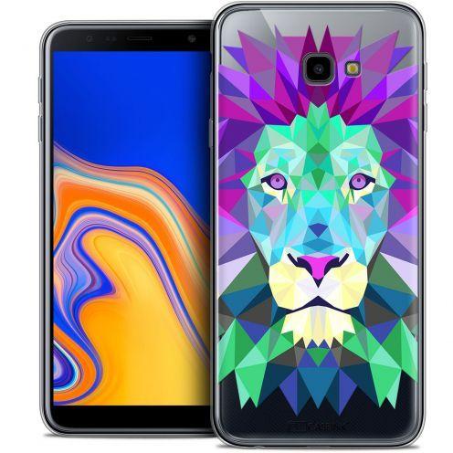 """Coque Crystal Gel Samsung Galaxy J4 Plus J4+ (6"""") Extra Fine Polygon Animals - Lion"""