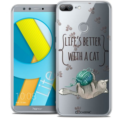 "Coque Crystal Gel Huawei Honor 9 LITE (5.7"") Extra Fine Quote - Life's Better With a Cat"