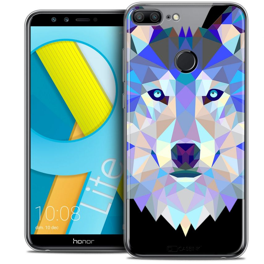 "Coque Crystal Gel Huawei Honor 9 LITE (5.7"") Extra Fine Polygon Animals - Loup"