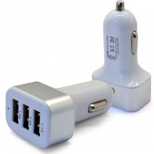 Micro chargeur voiture / Allume cigare Xcharge 3X USB - 2.1/2/1A - 5100mAh Blanc