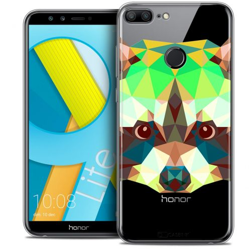"Coque Crystal Gel Huawei Honor 9 LITE (5.7"") Extra Fine Polygon Animals - Raton Laveur"