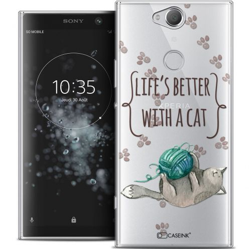 "Coque Crystal Gel Sony Xperia XA2 PLUS (6"") Extra Fine Quote - Life's Better With a Cat"