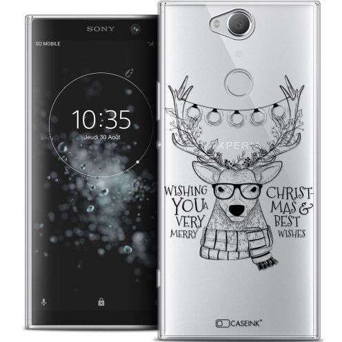 "Coque Crystal Gel Sony Xperia XA2 PLUS (6"") Extra Fine Noël 2017 - Cerf Hipster"