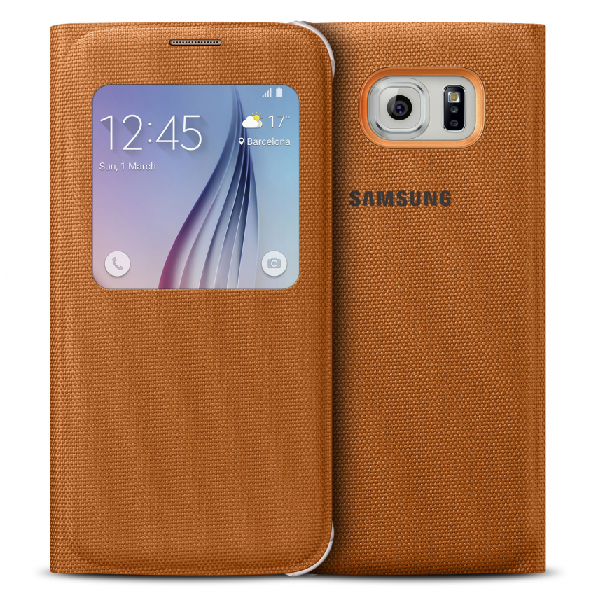 Vue complémentaire de Etui Folio Galaxy S6 S-View Cover Fabric Origine Samsung - Orange