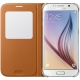 Visuel unique de Etui Folio Galaxy S6 S-View Cover Fabric Origine Samsung - Orange